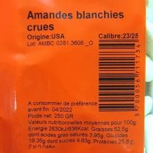 AMANDE BLANCHIE/EMONDEE 250...