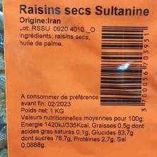 RAISIN SEC SULTANINES 1KG